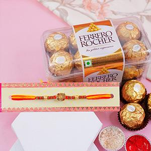 Attractive Golden Rakhi with Ferrero Rochers