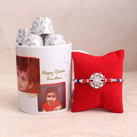 Silver Rakhi & Photo Mug Combo