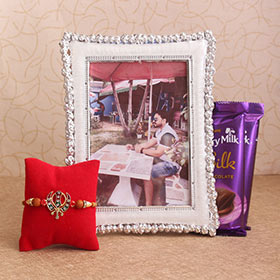 Khanda Rakhi & Personalized Frame Combo