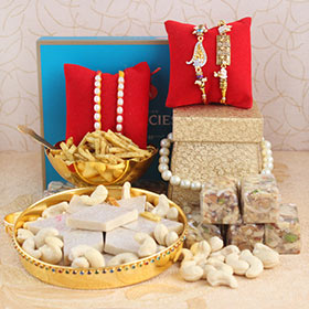 Set of 4 Rakhis with Tasty Delights