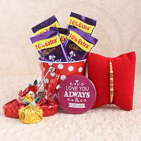 Chocolaty Wonder for Rakhi - Rakhi with Cadbury Chocolates