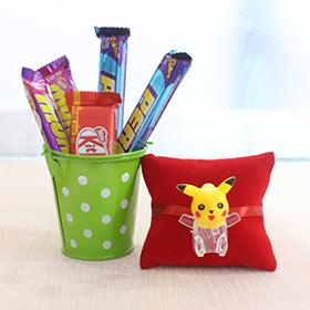 Pikachu Rakhi with Chocolates