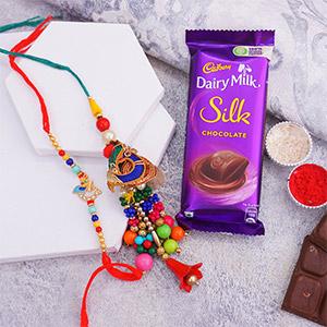 Colourful Bhaiya Bhabhi Rakhi with Chocolates