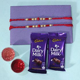 Set of 2 Pearl Rakhi with Chocolates