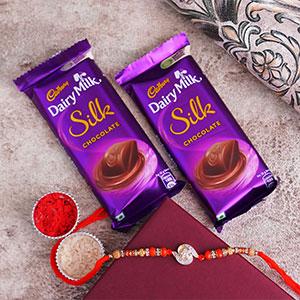 AD Stone Rakhi with Silk Chocolates