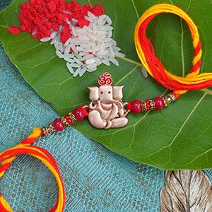 Red and Yellow Ganesha Rakhi - Ethnic Rakhi