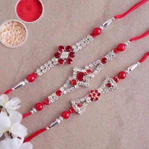 Set of Three Stone Rakhi - Red Colour Rakhi