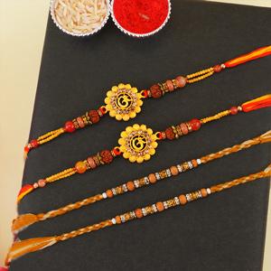 Two Golden Om and Two Beaded Rakhi Set