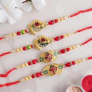 Set of 4 Golden Designer Rakhi