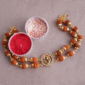 Om Rudraksha Designer Rakhi Bracelet
