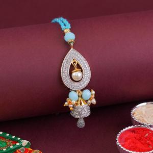 Beautiful Designer Lumba Rakhi - Turquoise Colour Rakhi