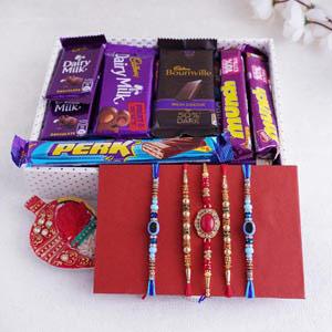 Rakhi Set of Five With Chocolate Tray