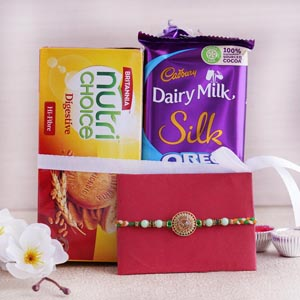 Traditional Rakhi With Biscuits and Chocolate