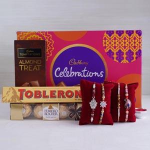 Rakhi Set of 4 with Chocolates Hamper