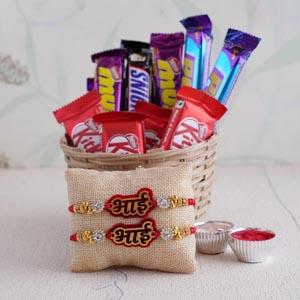 Bhai Rakhi Set of 2 and Chocolate Basket