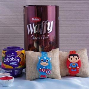 Two Superhero Kids Rakhi with Chocolates