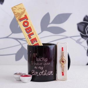Golden Rakhi with Mug and Toblerone Chocolate