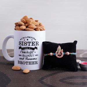 Krishna Rakhi with Mug and Almonds
