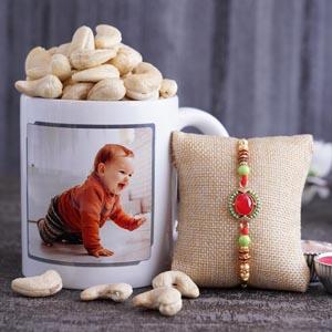 Beaded Rakhi With Mug and Cashews