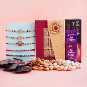 5 Designer Rakhi Set with Dryfruits and Chocolates