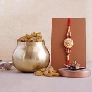 Designer Rakhi with 100 Grams Raisins