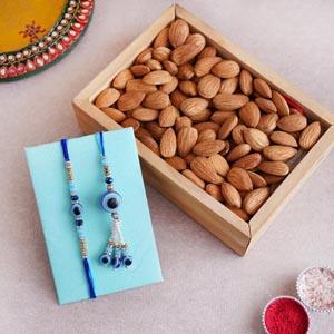 Evil Eye  Bhaiya Bhabhi Rakhi with Almond Tray
