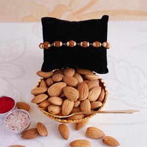 Rudraksha Bracelet Rakhi with Almonds and Golden Bowl