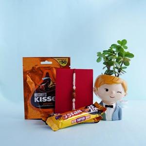 Rudraksha Rakhi with Jade Plant and Chocolates Combo