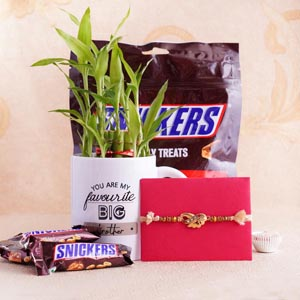 Designer Rakhi with Lucky Bamboo and Snicker Chocolate