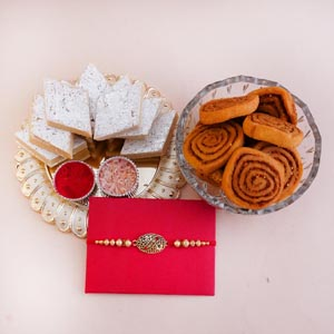 Antique Rakhi with Sweets and Snacks