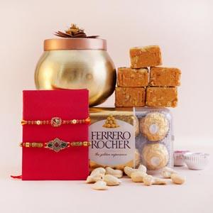 Set of 2 Designer Rakhi with Sweets and Cashews