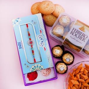 Designer Rakhi and Chocolates with Snacks
