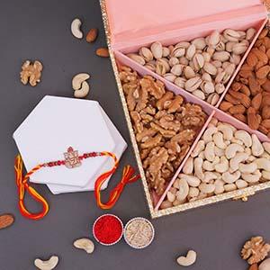 Ganesha Rakhi and Dryfruits Box