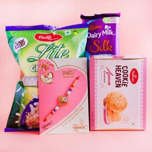 Designer Rakhi with Snacks Hamper