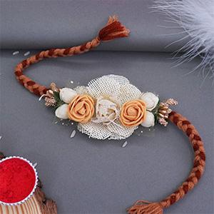 Flower Rakhi for Brother - Zardosi Rakhi