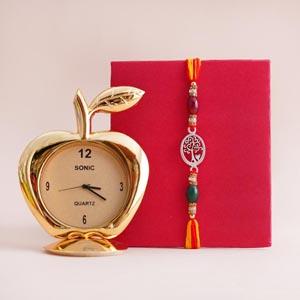 Silver Rakhi with Table Clock - Rakhi Gift Ideas