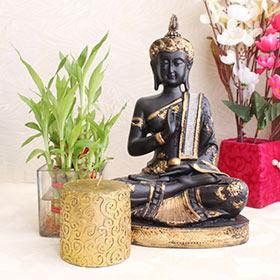 Lucky Bamboo with Buddha