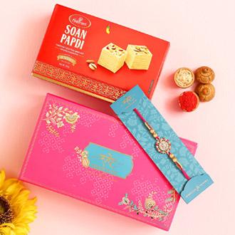 American Diamond Floral Rakhi And Soan Papdi