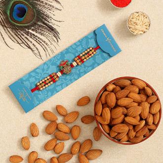 Auspicious Kalash Rudraksha Rakhi And Healthy Almonds
