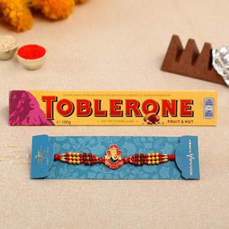 Ganesha And Rudraksha Rakhi With Toblerone Chocolate