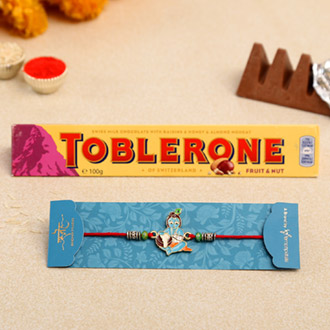 Spiritual Bal Krishna Kids Rakhi And Toblerone Chocolate