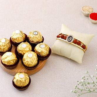 Om And Rudraksha Bracelet Rakhi With 3 Pcs Ferrero Rocher