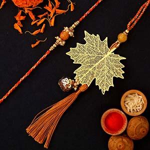 Maple Leaf Modern Design Lumba Rakhi Set