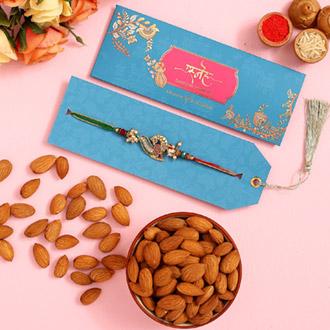 Beautiful Peacock Designer Rakhi And Healthy Almonds