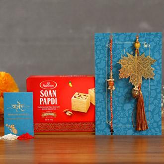 Maple Leaf Modern Lumba Rakhi Set With Soan Papdi