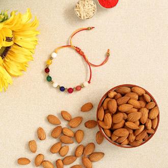 Navrattan Bracelet Pearl Rakhi And Healthy Almonds