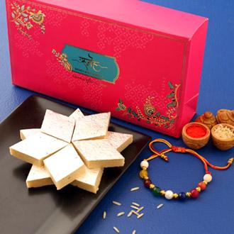Navrattan Bracelet Pearl Rakhi And Kaju Katli