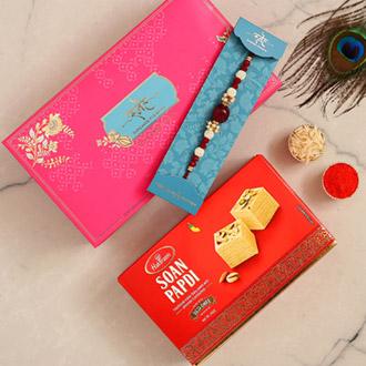 Red Beads Pearl Designer Rakhi And Soan Papdi