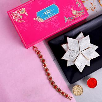 Spiritual Rudraksha Bracelet Rakhi And Kaju Katli