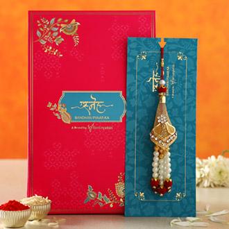 Traditional Pearl Golden Lumba Rakhi